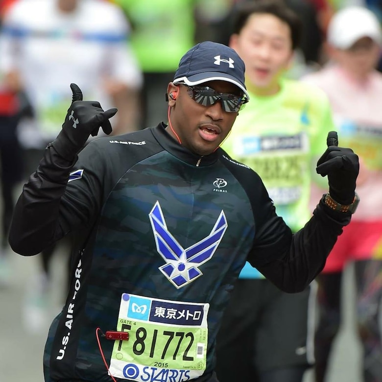 U.S. Air Force Tech. Sgt. Gerard Tilley, the 35th Maintenance Group education and training manager, poses for a photo during the 2015 Tokyo Marathon in Tokyo, Japan, Feb. 22, 2015. Tilley has received 19 medals and has even completed an ultra-marathon, requiring him to run a 100K. (Courtesy Photo)