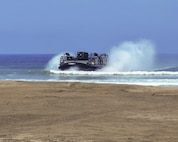 The 1394th Transportation Surface Brigade conducted the Big Logistics-Over-the-Shore West 2017 at Camp Pendleton, for joint operations with the United States Navy and U.S Marine Corp, during the month of July. The Navy's Landing Craft Air Cushion delivers cargo from ships directly to the beach, where the Marines were on scene to give logistical support with transportation once the delivery was made. Big LOTS - West 2017 is a United States Army Reserve functional exercise part of the Army Reserve Training Strategy in order to enhance unit readiness by conducting live and virtual port and bare beach operations with external evaluations.