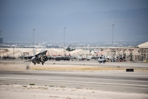An F-16 Fighting Falcon from the 55th Fighter Squadron, Shaw Air Force Base, S.C., takes off from the runway at Nellis Air Force Base, Nev., during Red Flag 17-3 July 24, 2017. More than 2,500 military personnel came to Nellis AFB to participate and hone their skills during Red Flag 17-3. (U.S. Air Force photo by Airman 1st Class Andrew D. Sarver/Released)