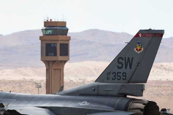 "An F-16 Fighting Falcon from the 55th Fighter Squadron, Shaw Air Force Base, S.C., taxis to the runway during Red Flag 17-3 at Nellis Air Force Base, Nev., July 24, 2017. The 55th FS is known as the ""Fightin' Fifty-Fifth"". (U.S. Air Force photo by Airman 1st Class Andrew D. Sarver/Released)"