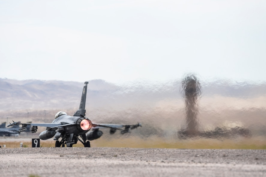 An F-16 Fighting Falcon from the 55th Fighter Squadron, Shaw Air Force Base, S.C., takes off during Red Flag 17-3 at Nellis Air Force Base, Nev., July 24, 2017. Dozens of units across the Department of Defense gathered at Nellis AFB to participate in Red Flag 17-3, the Air Force's premier multi-domain integration combat training exercise. (U.S. Air Force photo by Airman 1st Class Andrew D. Sarver/Releaesd)