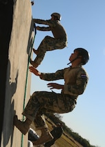 Paraguayan competitors run up a wall of an obstacle course event July 24, 2017, at Vista Alegre, Presidente Hayes, Paraguay. Paraguay is host to Fuerzas Comando 2017, the 13th iteration of a special operations competition designed to enhance multinational and regional cooperation, mutual trust and confidence, and to improve the training, readiness, interoperability, and capability of special forces. (U.S. Army photo by Staff Sgt. Chad Menegay/Released)