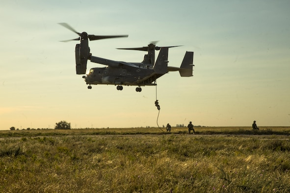 U.S. Special Operations Forces fast rope from a hovering CV-22 Osprey at Mykolaiv, Ukraine, July 14, 2017 during exercise Sea Breeze 17.  Sea Breeze is a U.S. and Ukraine co-hosted multinational maritime exercise held in the Black Sea and is designed to enhance interoperability of participating nations and strengthen maritime security within the region.