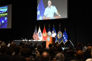 U.S. Air Force Gen. John. E. Hyten, commander of U.S. Strategic Command (USSTRATCOM), welcomes attendees to USSTRATCOM's  annual Deterrence Symposium at the CenturyLink Center, Omaha, Neb., July 26, 2017. During the two-day symposium, industry, military, governmental, international and academic experts discussed and promoted increased collaboration to address 21st century strategic deterrence.  One of nine Department of Defense unified combatant commands, USSTRATCOM has global strategic missions assigned through the Unified Command Plan that include strategic deterrence, space operations, cyberspace operations, joint electronic warfare, global strike, missile defense, intelligence, and analysis and targeting.