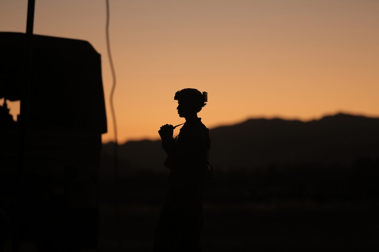 Staff Sgt. Shawn Allen, of the Army Reserve's 946th Transportation Company, watches the sunset during Combat Support Training Exercise 91-17-03, July 18, 2017, Fort Hunter Liggett, Calif. Approximately 5,000 Army Reserve and National Guard forces participated in the exercise. First Army provided about 65 observer coach/trainers to augment their Army Reserve partners at the 91st Training Division and assist in training the most capable, combat-ready and lethal federal reserve force in the history of the nation. 