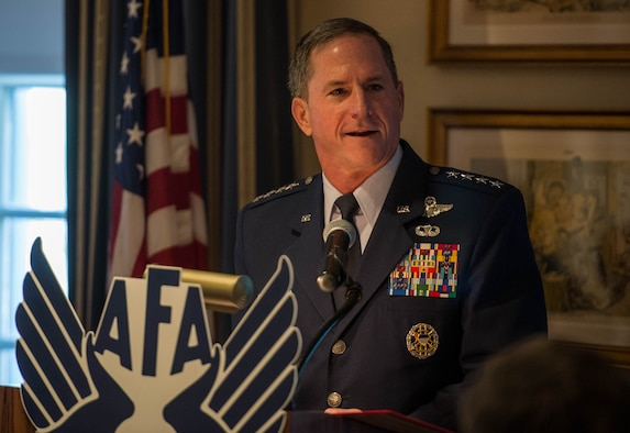 Air Force Chief of Staff Gen. David L. Goldfein speaks during an Air Force Association breakfast at the Mitchell Institute in Washington D.C., July 26, 2017. During his speech Goldfein outlined five key attributes the Air Force must be prepared for: trans-regional, multi-domain, multi-component, multi-national and fast. (U.S. Air Force photo/Senior Airman Rusty Frank)