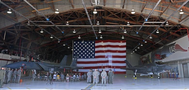 U.S. Air Force members from the 173rd Fighter Wing and 550th Fighter Squadron,gather for the official activation ceremony of the 550th Fighter Squadron, July 21, 2017, at Kingsley Field, in Klamath Falls, Oregon. The active duty Air Force detachment based out of Kingsley Field, previously Detatchement 2, is now officially designated as the 550th Fighter Squadron. 550th Fighter Squadron members will continue to fall under the command of the 56th Operations Group at Luke Air Force Base, Arizona. (U.S. Air National Guard photo by Staff Sgt. Penny Snoozy)