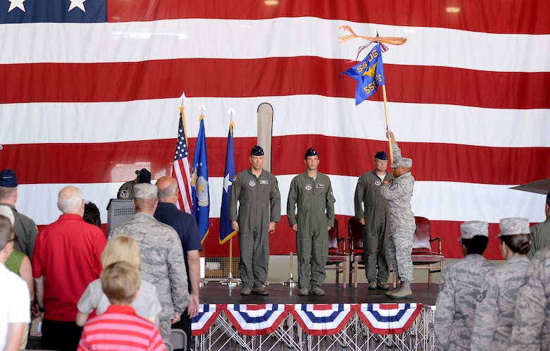 U.S. Air Force members from the 173rd Fighter Wing and 550th Fighter Squadron stand at attention as the new 550th FS guideon is presented during an activation ceremony, July 21, 2017, at Kingsley Field in Klamath Falls, Oregon. The active duty Air Force detachment based out of the Kingsley Field, previously known as Detachment 2, is now officially designated as the 550th Fighter Squadron. 550th Fighter Squadron members will continue to fall under the command of the 56th Operations Group at Luke Air Force Base, Arizona. (U.S. Air National Guard photo by Staff Sgt. Penny Snoozy)
