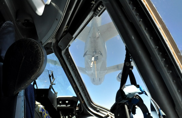 A C-17 Globemaster III approaches a KC-10 Extender during an in-air refueling over northern California on July 22, 2017. The aircraft, both from Travis Air Force Base, Calif., were performing training flights in conjunction with the 349th Air Mobility Wing's Patriot Wyvern exercise. (U.S. Air Force photo by Senior Airman Shelby R. Horn/Released)