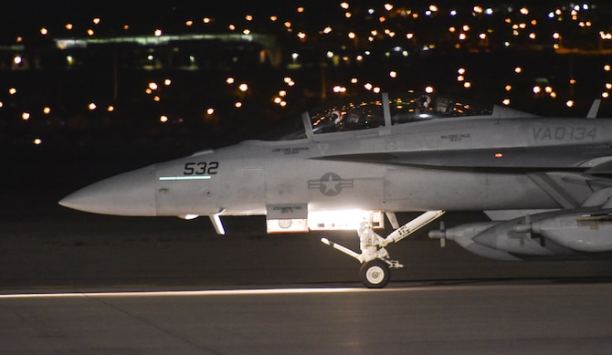An EA-18G Growler with the Electronic Attack Squadron 134, Naval Air Station Whidbey Island, Wash., taxis down the flightline at Nellis Air Force Base, Nev., during Red Flag 17-3, July 14, 2017. The Growler is the fourth major variant of the F/A-18 family of aircraft and combines the proven F/A-18F Super Hornet platform with a sophisticated electronic warfare suite. (U.S. Air Force photo by Senior Airman Dustin Mullen/Released)