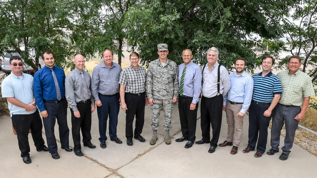 The Ground Based Strategic Deterrent's (GBSD) Model-Based Systems Engineering team from Hill Air Force Base, Utah, was recently recognized for setting future acquisition program standards with the 2016 Acquisition Excellence Continuous Process Improvement Award. Pictured from the left are: Phillip Ingraham, Nicholas Maughan, Rob Watson, Irvin Jacob, Roy Ramey, Col. Heath Collins, Karl Rogers, Bruce Arnold, Alex Landon, Kyle Fox and Mark Elkins. (U.S. Air Force photo)