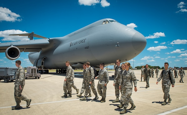 Reserve Officer Training Corps cadets tour a C-5M Super Galaxy aircraft at the 433rd Airlift Wing July 26, 2017, at Joint Base San Antonio-Lackland, Texas. The cadets also visited the engine shop and flew in the C-5 flight simulator at the 733rd Training Squadron. (U.S. Air Force photo by Benjamin Faske)