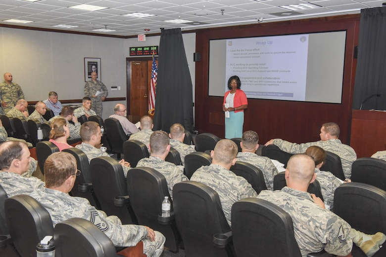 Arnetha Shipman, Air Combat Command Air Staff communications (A6), summarizes her speech during the week-long Cyber, Logistics and Sustainment Collaboration Council meeting hosted by the 480th Intelligence, Surveillance and Reconnaissance Wing July 24, 2017, on Joint Base Langley-Eustis, Va. The meeting provides a forum for squadron commanders and chief enlisted managers from active-duty and Air National Guard Distributed Common Ground System sites, as well as subject matter experts from across the ISR enterprise and the Air Force, to improve their information technology and logistical support processes. The CLS council is setting the course to enable, protect and operate the information technology infrastructure and logistics support required by the global Air Force DCGS enterprise. (U.S. Air Force photo/Tech. Sgt. Darnell T. Cannady)