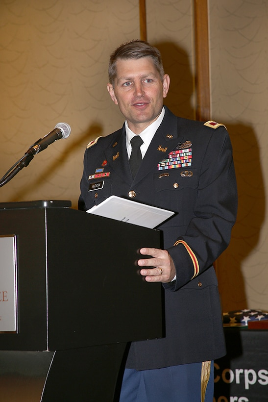 Col. John Hudson gives his first speech as the new commander.