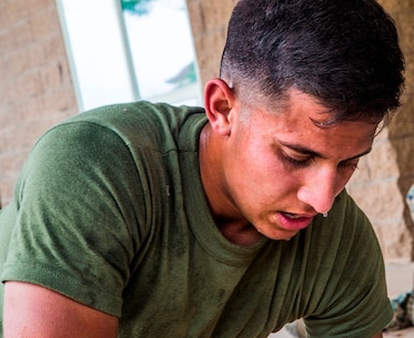 CAMP PENDLETON, Calif. – U.S. Marine Pfc. Mitchell Manuel, a field radio operator with Transportation Service Company, Combat Logistics Battalion 1, Combat Logistics Regiment 1, 1st Marine Logistics Group, recuperates after the practical application portion of a combat lifesaver course July 22, 2017. During a CLS course, Marines are put into a high-stress and intense environment aimed at heightening not only their war fighting skills, but also giving them a new skill set applying combat casualty care.  (U.S. Marine Corps Photo by Lance Cpl. Joseph Sorci)