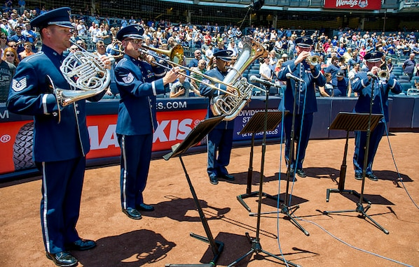 On July 4, the Ceremonial Brass Quintet performed the National Anthem at the Yankees game. (U.S. Air Force photos/Airman 1st Class Gabrielle Spalding/released)