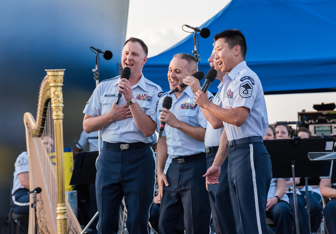 A male vocal quartet from the Singing Sergeants takes the stage during the concert on July 4th at the Air Force Memorial.