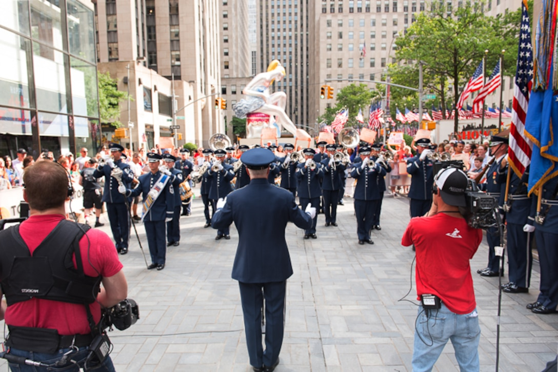 The Ceremonial Brass made their annual trip to New York to play on the Today Show on the morning of July 4, led by Colonel Lang. Happy Birthday, America! (U.S. Air Force photos/CMSgt Kamholz/released)