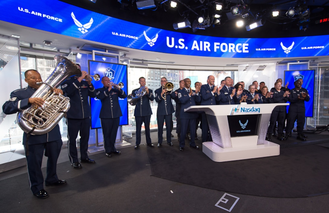 Here is the Ceremonial Brass Quintet performing a the opening of the NASDAQ on July 3. The most patriotic opening all year! (U.S. Air Force photos/CMSgt Bob Kamholz/released)