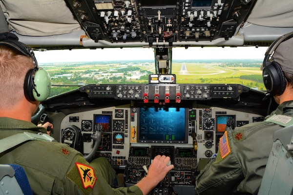 Reserve Citizen Airmen from the 465th Air Refueling Squadron at Tinker Air Force Base, Okla., prepare to land a KC-135R Stratotanker at RAF Mildenhall, England, July 15, 2017. In a long-standing total force partnership between Air Force Reserve Command and U.S. Air Forces in Europe, members of the 507th Air Refueling Wing are supporting Operation Atlantic Resolve and augmenting the 100th Air Refueling Wing here July 1-29, 2017. (U.S. Air Force photo/Tech. Sgt. Lauren Gleason)
