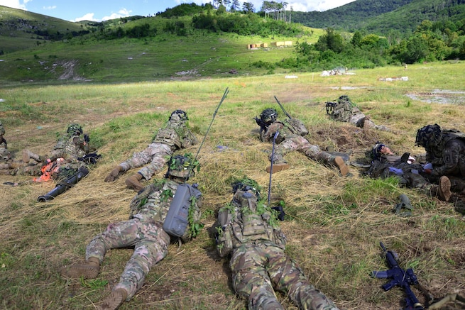 Paratroopers engage targets during a live-fire exercise as part of Exercise Rock Knight at Pocek Range in Postonja, Slovenia, July 25, 2017. Army photo by Davide Dalla Massara
