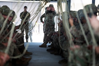 Soldiers practice static line jumping procedures before participating in Exercise Panther Storm at Fort Bragg, N.C., July 24, 2017. The soldiers are paratroopers assigned to the 82nd Airborne Division. The exercise is designed to test the ability of the division's soldiers to rapidly deploy anywhere in the world on short notice. Air Force photo by Staff Sgt. Andrew Lee