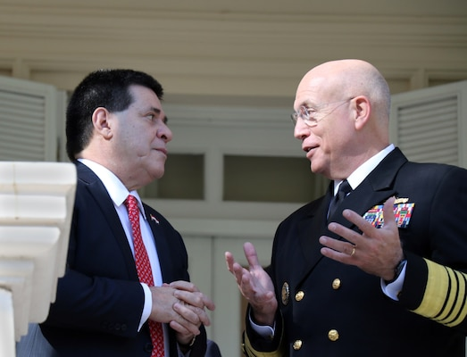ASUNCIÓN, Paraguay -- Paraguayan President Horacio Cartés and U.S. Navy Adm. Kurt W. Tidd, commander of U.S. Southern Command, meet at the Palacio de los López to discuss defense cooperation efforts. Tidd is in Paraguay to meet the nation's leaders and to engage with senior regional security officials during the annual Fuerzas Comando multinational special operations skills competition. (Photo by Jose Ruiz, SOUTHCOM Public Affairs)