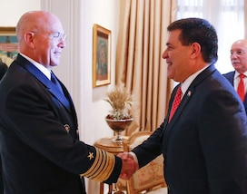 ASUNCIÓN, Paraguay -- Paraguayan President Horacio Cartés and U.S. Navy Adm. Kurt W. Tidd, commander of U.S. Southern Command, meet at the Palacio de los López to discuss defense cooperation efforts. Tidd is in Paraguay to meet the nation's leaders and to engage with senior regional security officials during the annual Fuerzas Comando multinational special operations skills competition. (Photo courtesy of the Office of the President of Paraguay)
