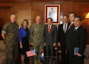 ASUNCIÓN, Paraguay (July 27, 2017) -- Paraguayan Minister of Defense Diogenes Martinez (center right), U.S. Navy Adm. Kurt W. Tidd, commander of U.S. Southern Command (center left), Amb. Liliana Ayalde, Civilian Deputy to the SOUTHCOM Commander (2nd from left), SOUTHCOM Command Senior Enlisted Leader, Marine Sergeant Maj. Bryan K. Zickefoose (far left), and other Parguayan officials, pose for a group photo at the Ministry of Defense in Asunción. Tidd is in Paraguay to meet the nation's leaders and to engage with senior regional security officials during the annual Fuerzas Comando multinational special operations skills competition. (Photo by SOUTHCOM Public Affairs)