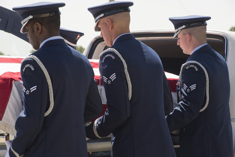 Airmen with the Mountain Home Air Force Base Honor Guard practice drill sequences during training here, July 11, 2017. Members of the Air Force Mobile Training Team visited the base with the goal of standardizing sequences and standards throughout the Air Force. (U.S. Air Force photo by Senior Airman Jessica H. Smith/Released)