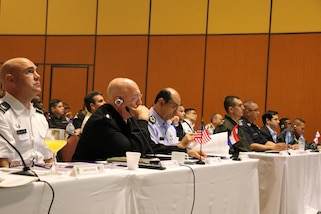 ASUNCIÓN, Paraguay (July 25, 2017)-- U.S. Navy Adm. Kurt W. Tidd, commander of U.S. Southern Command, takes part in discussions during the Fuerzas Comando 2017 Senior Leader Seminar. Tidd is in Paraguay to meet the nation's leaders and to engage with senior regional security officials during the annual Fuerzas Comando multinational special operations skills competition. (Photo by Jose Ruiz, SOUTHCOM Public Affairs)