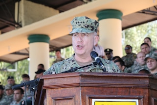 ASUNCIÓN, Paraguay (July 27, 2017) -- U.S. Navy Adm. Kurt W. Tidd, commander of U.S. Southern Command, speaks during the closing ceremony of Fuerzas Comando 2017. Tidd is in Paraguay to meet the nation's leaders and to engage with senior regional security officials during the annual Fuerzas Comando multinational special operations skills competition. (Photo by Jose Ruiz, SOUTHCOM Public Affairs)