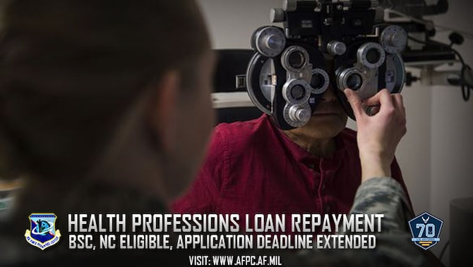 The Air Force has extended the deadline to Sept. 1 to apply for the active-duty Health Professions Loan Repayment Program in fiscal year 2017. Applicants must hold a specialty in either the Biomedical Sciences or Nurse Corps. (U.S. Air Force photo by Staff Sgt. Christopher Ruano)