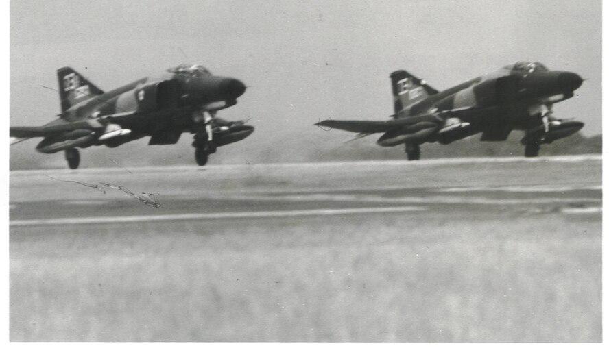 Two F-4s taking off circa 1965, at Eglin Air Force Base, Florida.