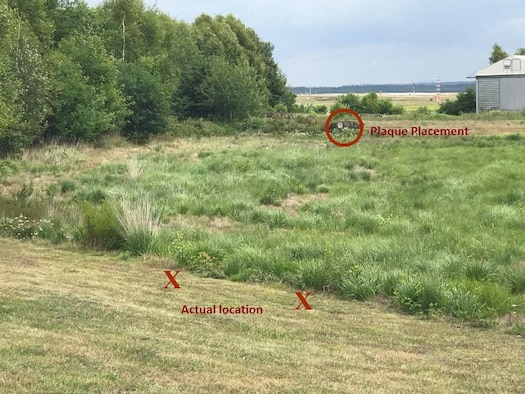Location today that marks the spot near Ramstein Air Base where Royal Air Force Squadron leader Roger Bushell and French Air Force 2nd Lt. Bernad Scheidhauer were executed on March 29, 1944.  A second marker was placed approximately 70 yards to the rear of the execution site. (Courtesy photo by Dr. Silvano Wueschner, Air University historian)