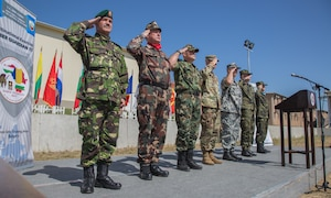 Leaders from participating nations render honors for the host nations' national anthems during the opening ceremony for exercise Saber Guardian 17 at Novo Selo Training Area, Bulgaria, July 11, 2017. Saber Guardian is a U.S. Army Europe-led, multinational exercise that spans across Bulgaria, Hungary, and Romania with more than 25,000 service members 22 allied and partner nations. Army photo by Spc. Jada Owens