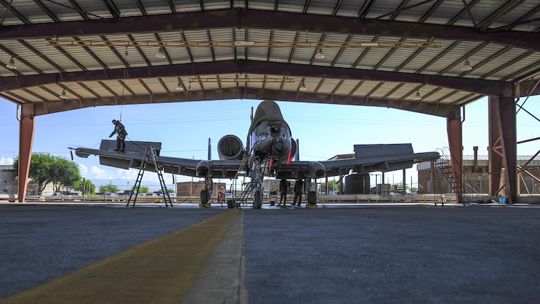 A U.S. Air Force A-10C Thunderbolt II rests in a wash rack at Davis-Monthan Air Force Base, Ariz., July 25, 2017. The A-10 recently returned from a deployment to Turkey in support of Combined Joint Task Force – Operation Inherent Resolve. (U.S. Air Force photo by Airman 1st Class Michael X. Beyer)