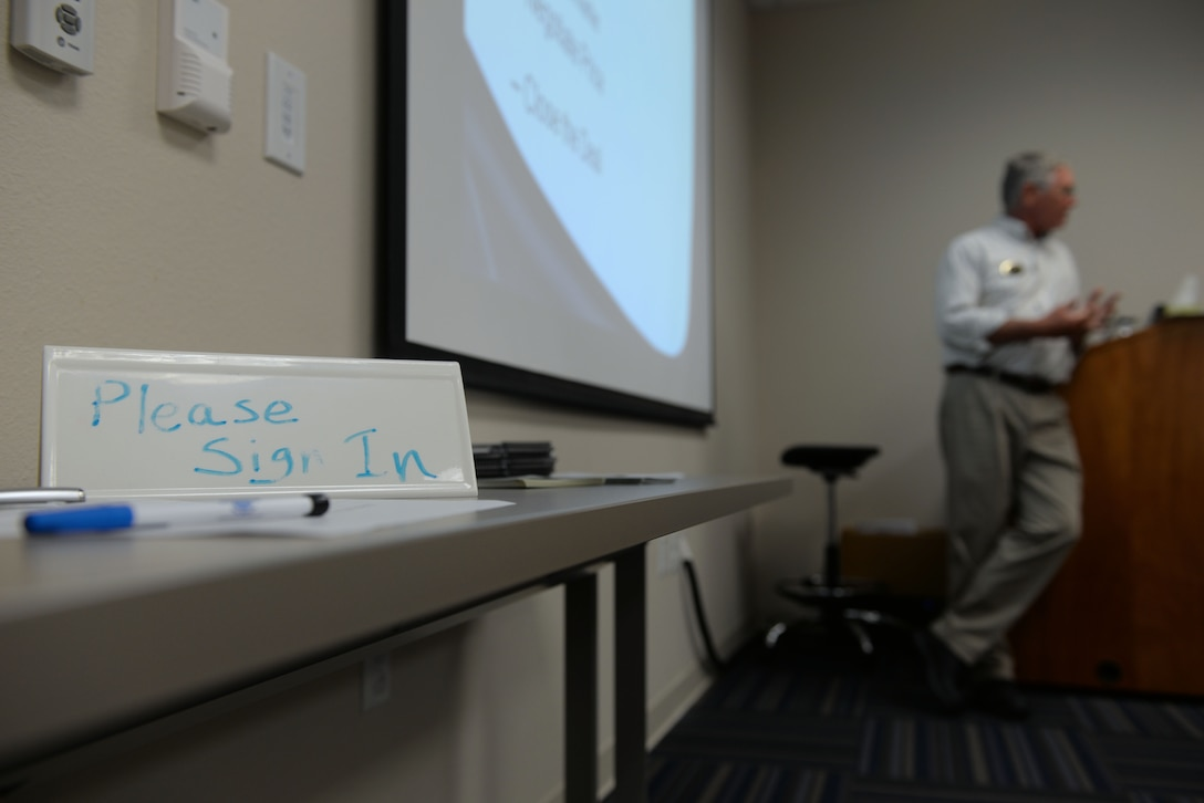 Richard Tomaskovic, 19th Force Support Squadron community readiness consultant, teaches a car buying class July 25, 2017, at Little Rock Air Force Base, Ark. The class offers information on the various aspects and process of buying a car. (U.S. Air Force photo by Airman Rhett Isbell)