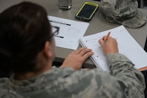 Senior Airman Amanda Block, 19th Operations Support Squadron enlisted executive assistant, writes notes during the Car Buying class at the Airmen and Family Readiness Center July 25, 2017, at Little Rock Air Force Base, Ark. The classes offered at the Airmen and Family Readiness Center are free for all Airmen and their families. (U.S. Air Force photo by Airman Rhett Isbell)