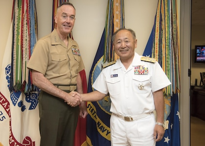 Marine Corps Gen. Joseph F. Dunford Jr., chairman of the Joint Chiefs of Staff, meets with his Japan counterpart Adm. Katsutoshi Kawano, Chief of Staff of the Japan Self-Defense Forces, at the Pentagon, July 27, 2017.