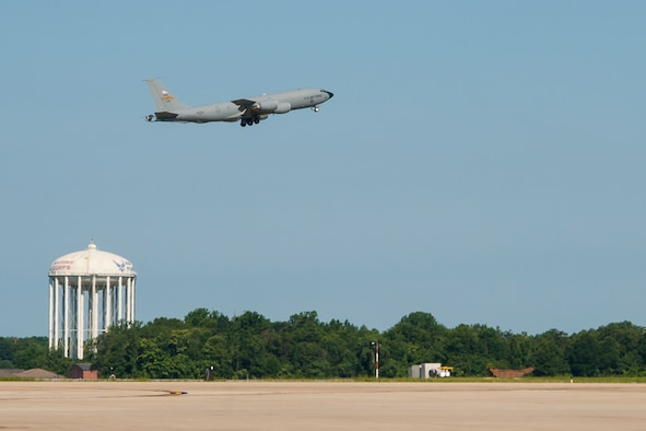 A 459th Air Refueling Wing KC-135R Stratotanker takes off from the Joint Base Andrews, Maryland, airfield during and exercise July 16, 2017. The exercise tested the unit's ability to rapidly deploy multiple aircraft within minutes. (U.S. Air Force photo/Tech. Sgt. Kat Justen)