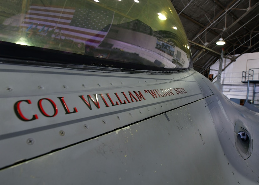 "U.S. Air Force Col. William ""Wilbur"" Betts', 51st Fighter Wing commander, name is displayed on U.S. Air Force F-16 Fighting Falcon during the 51st FW Change of Command Ceremony on July 27, 2017 at Osan Air Base, Republic of Korea. The ceremony consisted of U.S. Air Force Col. Andrew ""Popeye"" Hansen relinquishing command of the 51st FW to U.S. Air Force Col. William ""Wilbur"" Betts. The 51st FW provides combat ready forces for close air support, air strike control, forward air control-airborne, combat search and rescue, counter air and fire, and interdiction in defense of the ROK. (U.S. Air Force photo by Senior Airman Franklin R. Ramos/Released)"