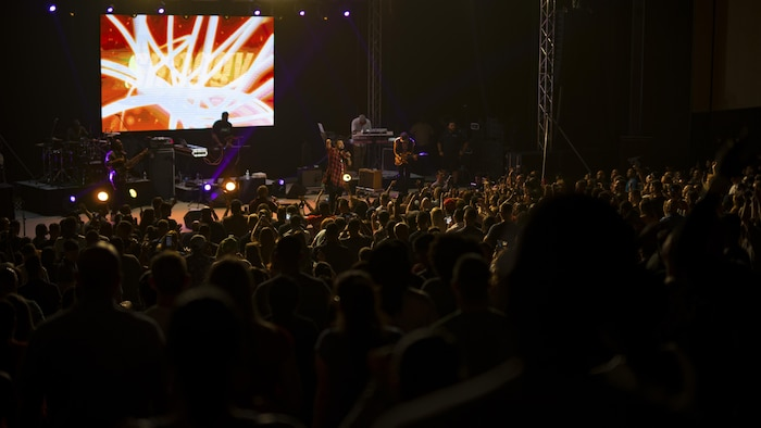 """Orville Burrell, better known as """"Shaggy,"""" a musical artist and Marine Corps veteran, performs a live concert at Marine Corps Air Station Iwakuni, Japan, July 26, 2017. Shaggy sang a variety of his hit songs including """"Boombastic,"""" """"It Wasn't Me"""" and """"Oh Carolina."""" The concert was part of an Armed Forces Entertainment tour that included three military installations across Japan. (U.S. Marine Corps photo by Cpl. Donato Maffin)"""