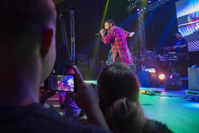 """Orville Burrell, better known as """"Shaggy,"""" a musical artist and Marine Corps veteran, performs a live concert at Marine Corps Air Station Iwakuni, Japan, July 26, 2017. Shaggy sang a variety of his hit songs including """"Boombastic,"""" """"It Wasn't Me"""" and """"Oh Carolina."""" The concert was part of an Armed Forces Entertainment tour that included three military installations Japan. (U.S. Marine Corps photo by Sgt. Justin Fisher)"""