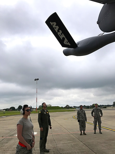 Citizen Airmen with the 507th Aircraft Maintenance Group at Tinker Air Force Base, Okla.,perform pre-flight checks on a KC-135R Stratotanker July 25, 2017, at RAF Mildenhall, England, prior to a refueling mission. In a long-standing partnership between the Air Force Reserve Command and U.S. Air Forces in Europe, members of the 507th Air Refueling Wing are augmenting the 100th Air Refueling Wing July 1-29, to provide KC-135R air refueling support to the European theater of operations. (U.S. Air Force photo/Tech Sgt. Lauren Gleason)