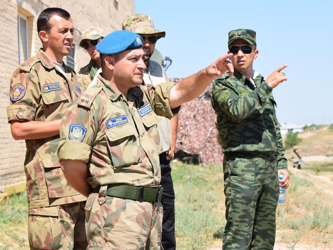 Tajikistani senior officers observe their soldiers conducting an exercise lane with Kazakhstani soldiers July 25, 2017, during Exercise Steppe Eagle 17 at Illisky Training Center near Almaty, Kazakhstan. Steppe Eagle is a multinational exercise that promotes mutual understanding and interoperability between participating partner nations, and provides an opportunity to build relationships and exchange ideas.