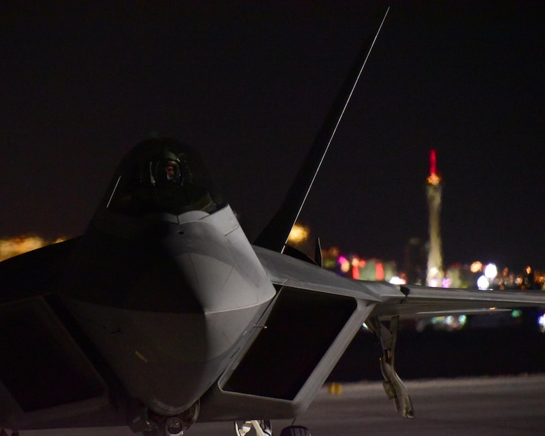 A 95th Fighter Squadron F-22 Raptor from Tyndall Air Force Base, Fla., prepares to take off at Nellis AFB, Nev., July 14, 2017. The Raptors are at Nellis AFB for Red Flag 17-3, which is an exercise maximizing the combat readiness and survivability of participants by providing a realistic training environment. (U.S. Air Force photo/Senior Airman Cody R. Miller)