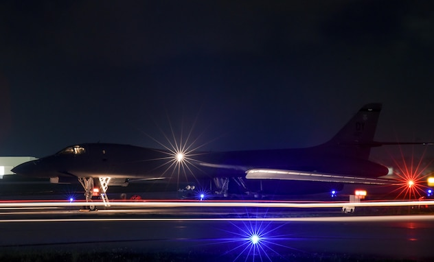 A B-1B Lancer aircraft assigned to the 9th Expeditionary Bomb Squadron, deployed from Dyess Air Force Base, Texas, prepares for takeoff from Andersen AFB, Guam, to a conduct bilateral training mission with Royal Australian Air Force Joint Terminal Attack Controllers July 18, 2017. The mission was part of Talisman Saber 17, a training exercise designed to maximize combined training opportunities and conduct maritime preposition and logistics operations in the Pacific. (U.S. Air Force Photo/Staff Sgt. Joshua Smoot)