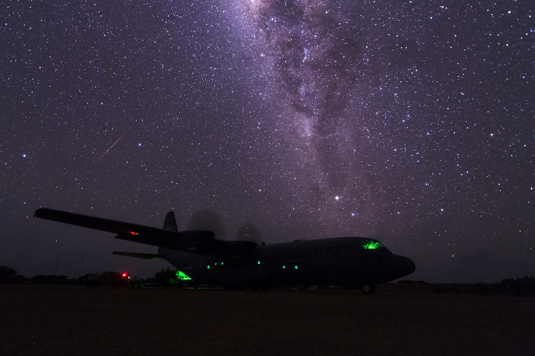 U.S. personnel from the 75th Expeditionary Airlift Squadron conduct C-130J Super Hercules airlift operations in East Africa, July 19, 2017. The 75th EAS supports the Combined Joint Task Force-Horn of Africa mission of promoting prosperity and security in East Africa by assisting partner nations with countering extremist organizations, fostering regional security cooperation and protecting U.S. personnel and facilities in its 10-country area of responsibility. (U.S. Air Force photo/Master Sgt. Russ Scalf)