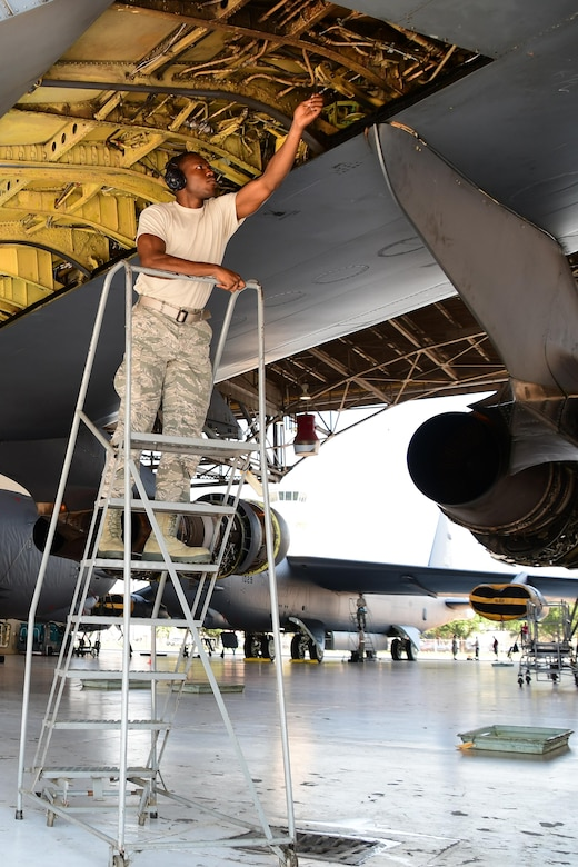 Airman First Class Jonathan Shepherd, an aircraft hydraulic systems specialist assigned to the 307th Maintenance Squadron, makes adjustments to the wing hydraulic system of a B-52 Stratofortress during a phase inspection on Barksdale Air Force Base, La. June 28, 2017. Shepherd is making the adjustment to the system after a line was replaced during a phase inspection of the bomber. (U.S. Air Force photo by Master Sgt. Dachelle Melville/Released)